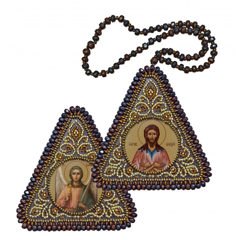 """Набор для вышивания бисером 8х8см двухсторонняя икона """"Св. Прп. Алексий Человек Божий и Ангел Хранитель"""""""