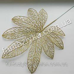 Лист каштана золотой с блестками