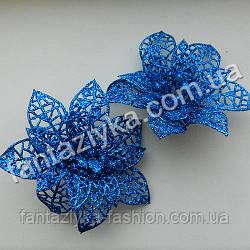 Пуансетия в блестках средняя 10см, синяя