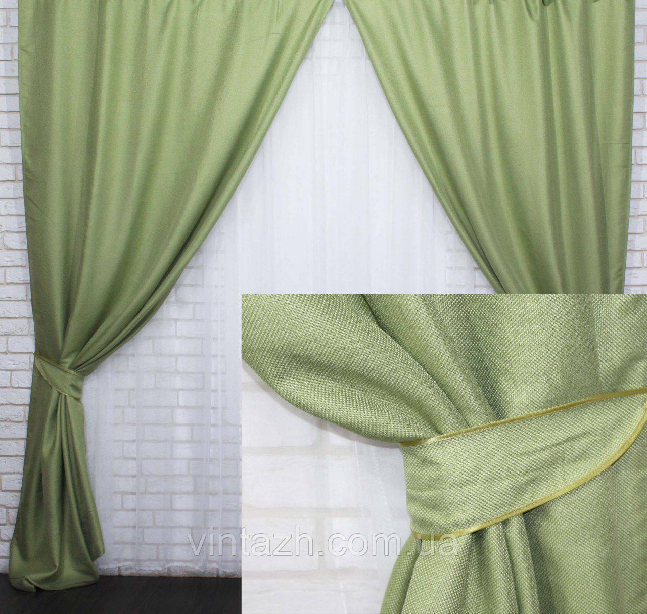 Готовые  шторы  из натурального льна  в оливковых тонах