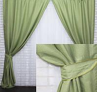 Готовые  шторы  из натурального льна  в оливковых тонах, фото 1