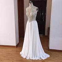 2f6732c75ea937a Белое вечернее платье с камнями на свадьбу. Шикарное вечернее платье в пол.  Платье с