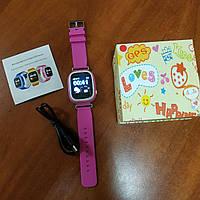 Детские смарт часы телефон с GPS трекером Smart Watch q90 td-02 розовые 2b7a68c444e58