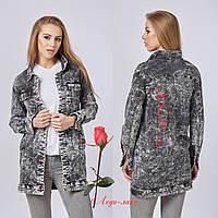 Модная  удлиненная джинсовая куртка  серого цвета MN  Q-7731, фото 1