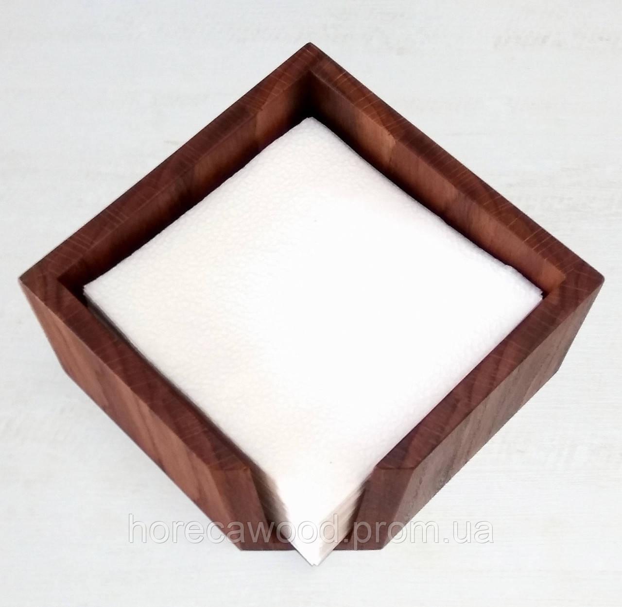 Салфетница деревянная дубовая 145х145х80мм