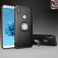 Чехол для телефона Xiaomi Mi 8, бампер с кольцом подставкой, RM Armor, черный