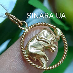 Золотая подвеска Слоник - Кулон Слон золото - Золотой Слоник кулон