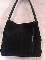 Сумка женская замшевая черная стильная, фото 1