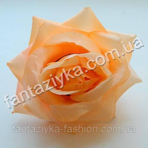 Головка искусственной розы темно-персиковая 10см