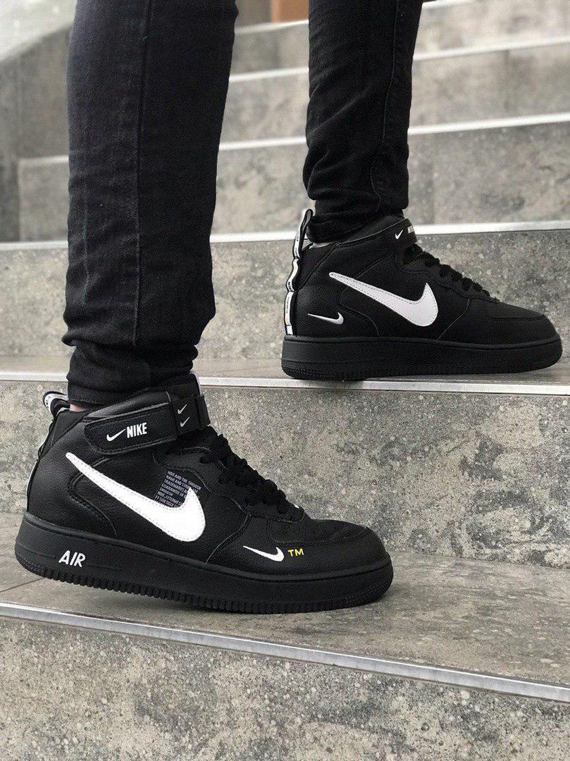 najwyższa jakość kupuj bestsellery tania wyprzedaż Black Nike Air Force 1 Mid 07 L.V.8 Utility Pack | кроссовки мужские;  черно-белые; кожаные