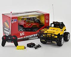 Машинка на радио управлении модель джип горят фары offroad crawler желтый
