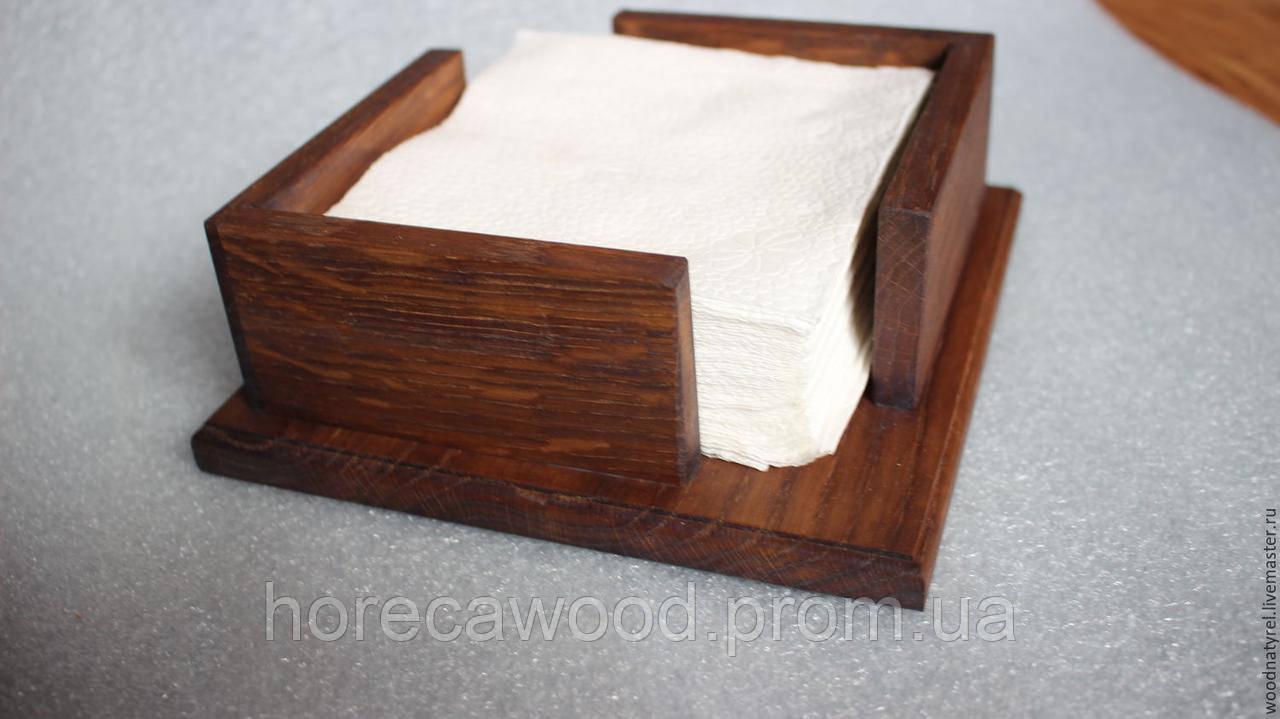Деревянная салфетница 17х17х6мм