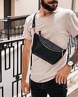 Мужская кожаная сумка барсетка   Стильная поясная сумка из кожи