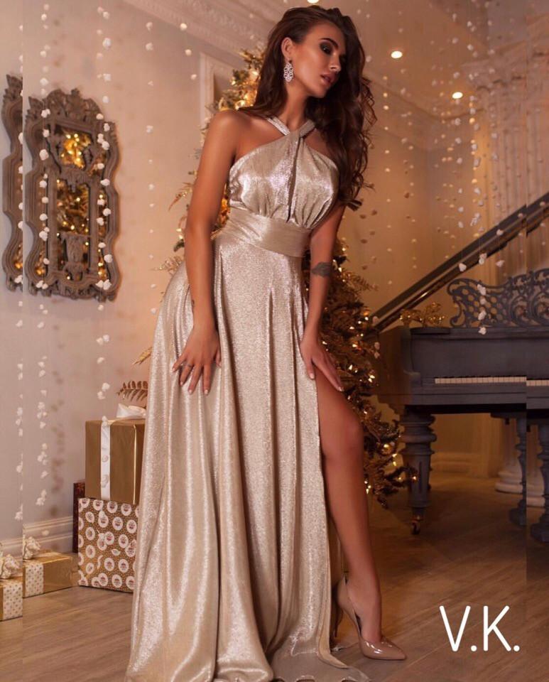 Вечернее платье макси с люрексом 42-46р