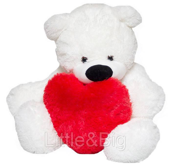 Медведь Бублик  белый 110 см с сердцем 40см