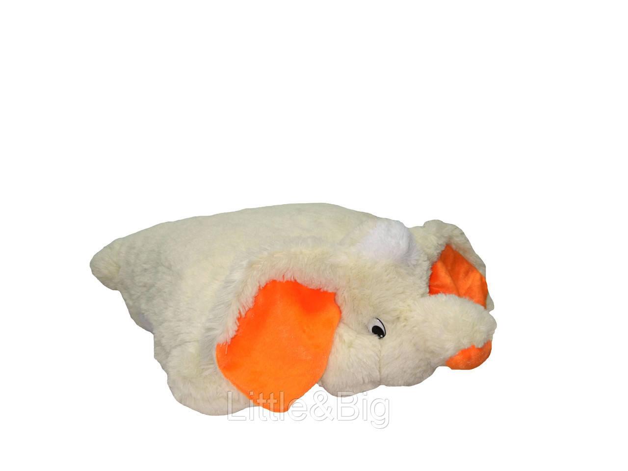 Подушка-игрушка  Слон 55 см белый