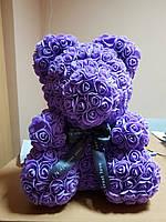 Мишка из фиолетовых 3D роз (25 см)