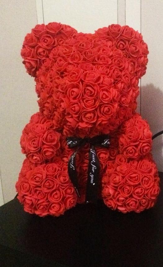 Мишка из красных 3D роз (25 см)