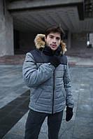 Куртка мужская зимняя Jacket winter Alaska теплая с капюшоном на меху, пуховик мужской зимний цвет серый