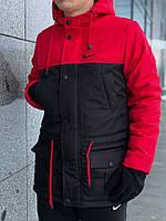 Парка мужская зимняя Winter Parka с капюшоном, теплая куртка удлиненная черно-красная