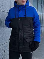 Парка мужская зимняя Winter Parka с капюшоном, теплая куртка удлиненная черно-синяя