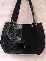Сумка женская черная замшевая с лаковой вставкой,стильная.