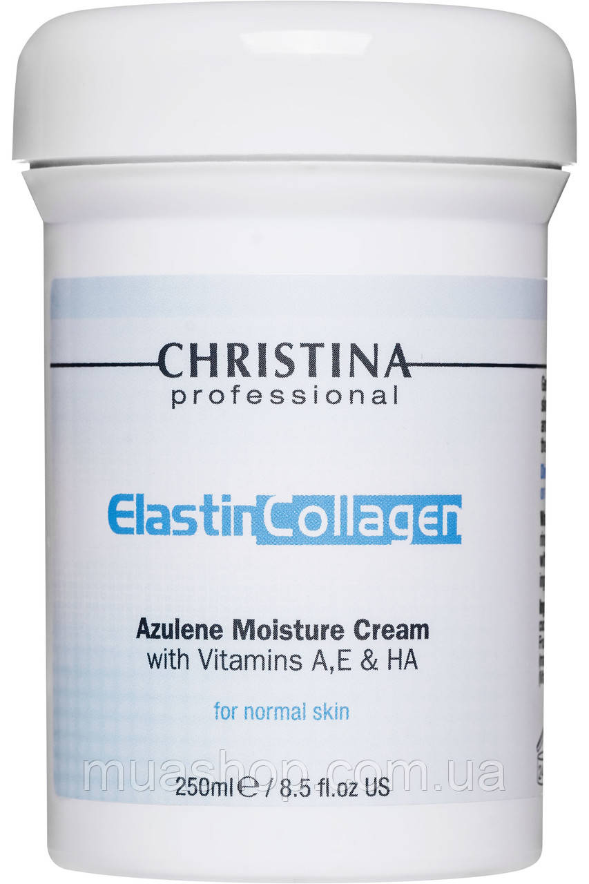 CHRISTINA Elastin Collagen Azulene Moisture Cream with Vit.A, E&HA - Увлажняющий крем для норм. кожи, 250 мл