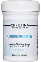 CHRISTINA Elastin Collagen Azulene Moisture Cream with Vit.A, E&HA - Увлажняющий крем для норм. кожи, 250 мл