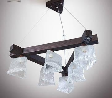 Люстра деревянная на тросах для кабинета, прихожей, холла 336
