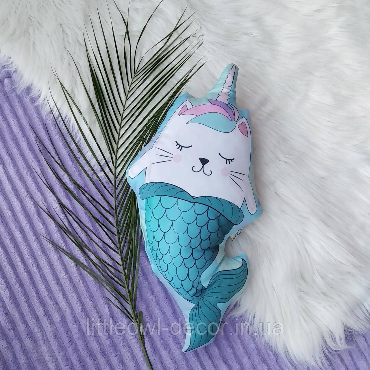 Подушка Кот-русалка 45см