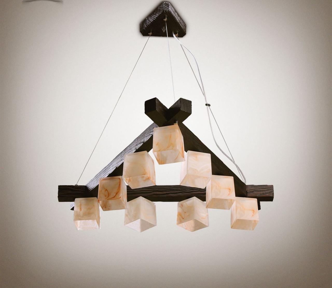 Люстра дерев'яна на тросах у велику кімнату 339