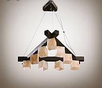 Люстра деревянная на тросах в большую комнату