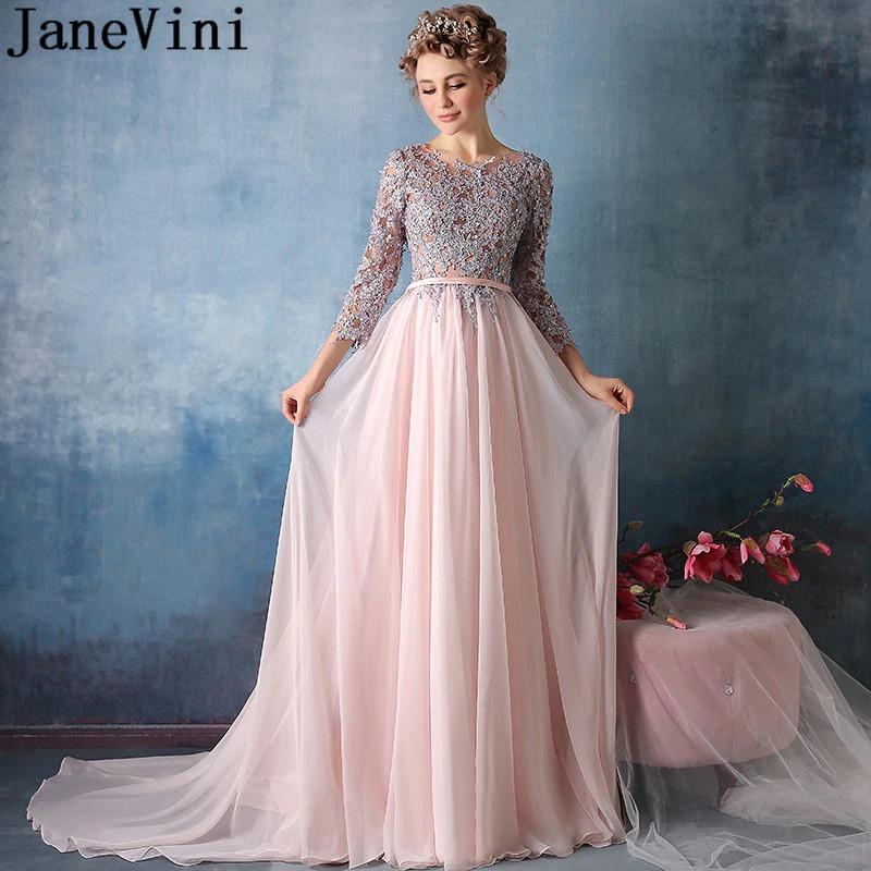 c0cd3bf28bdf777 ... фото Вечернее платье шифон с длинными рукавами и вышивкой.Нежное  выпускное платье в пол, фото