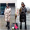 Пуховик одеяло женский глянцевый двухсторонний с капюшоном очень теплый утеплитель Тинсулейт Gm879