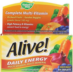 Alive! Nature's Way, Бодрость! Ежедневный запас энергии, 60 таблеток
