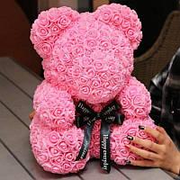 Мишка из розовых 3D роз  (25 см)