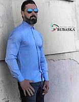 Мужская голубая рубашка с длинным рукавом, фото 1