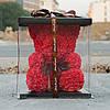 Мишка из красных 3D роз (25 см), фото 8