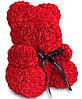Мишка из красных 3D роз (25 см), фото 5