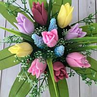 Мыльный букет из 9 тюльпанов