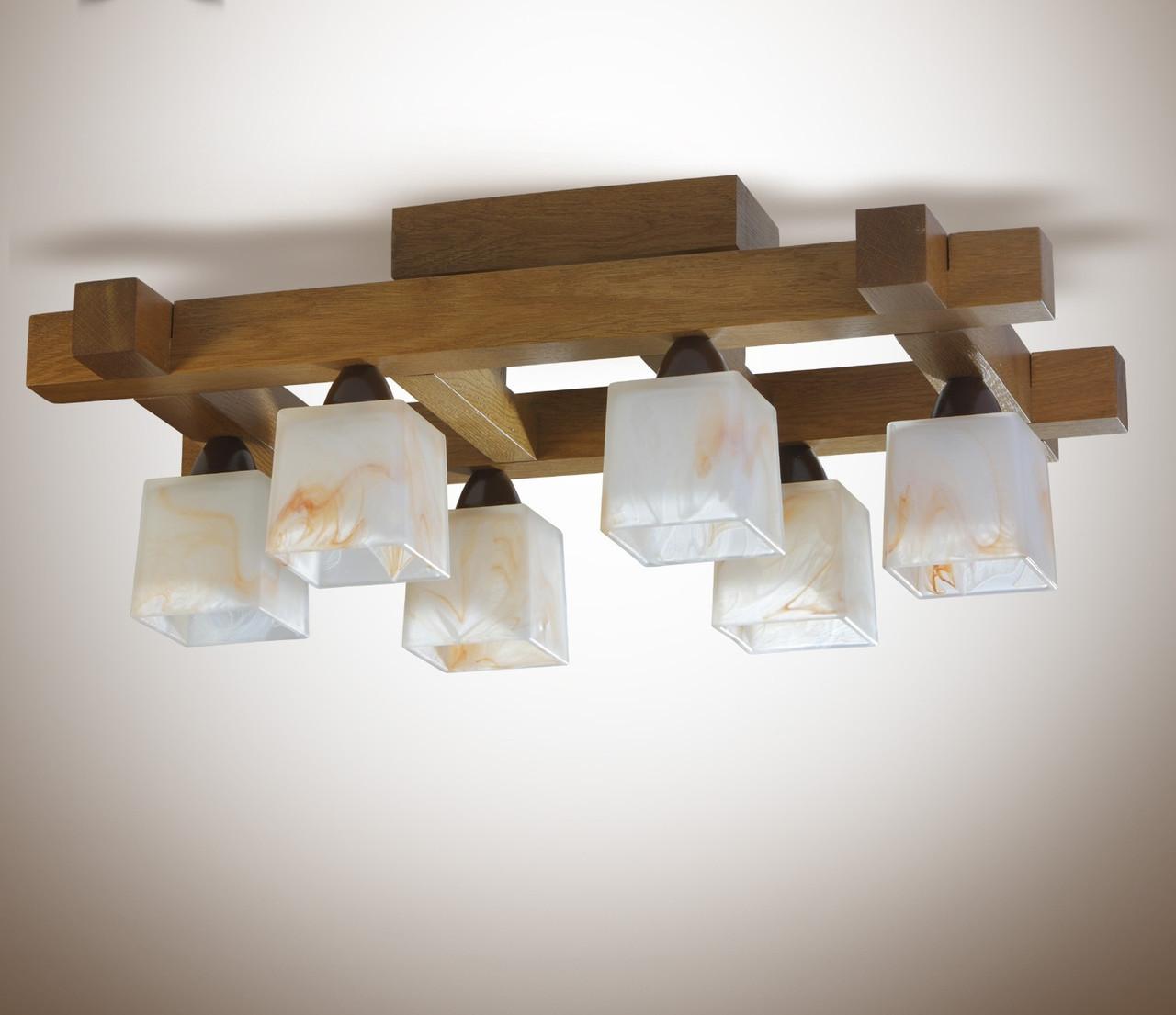 Люстра деревянная потолочная в большую комнату 4360