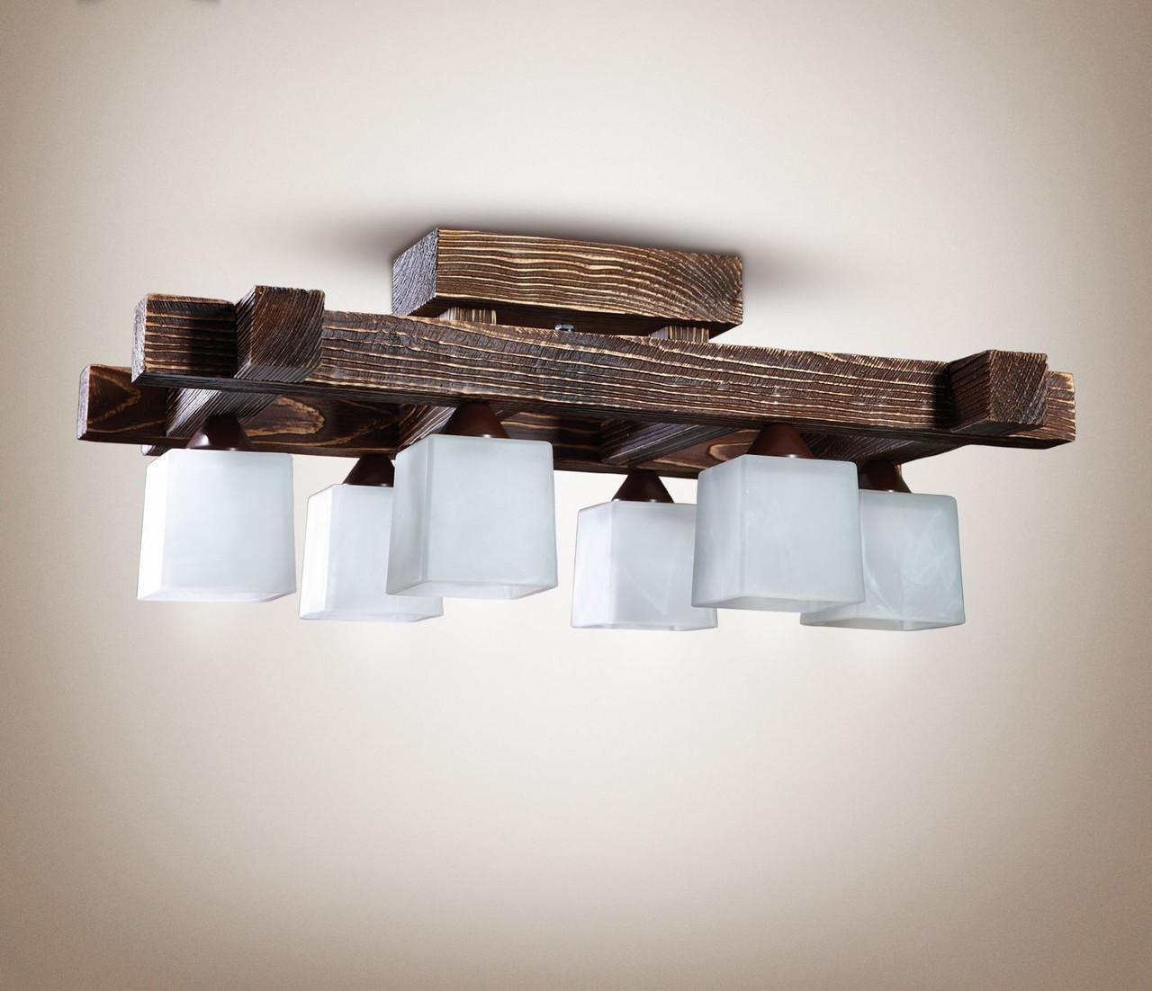 Люстра дерев'яна стельова у велику кімнату 4360-2