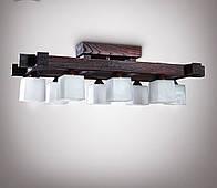 Люстра деревянная потолочная в большую комнату 4380