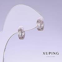 Серьги Xuping L-9мм s-3мм родий 18к