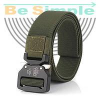 Тактический нейлоновый ремень Tactical Belt 145 см / Мужской ремень Зеленый