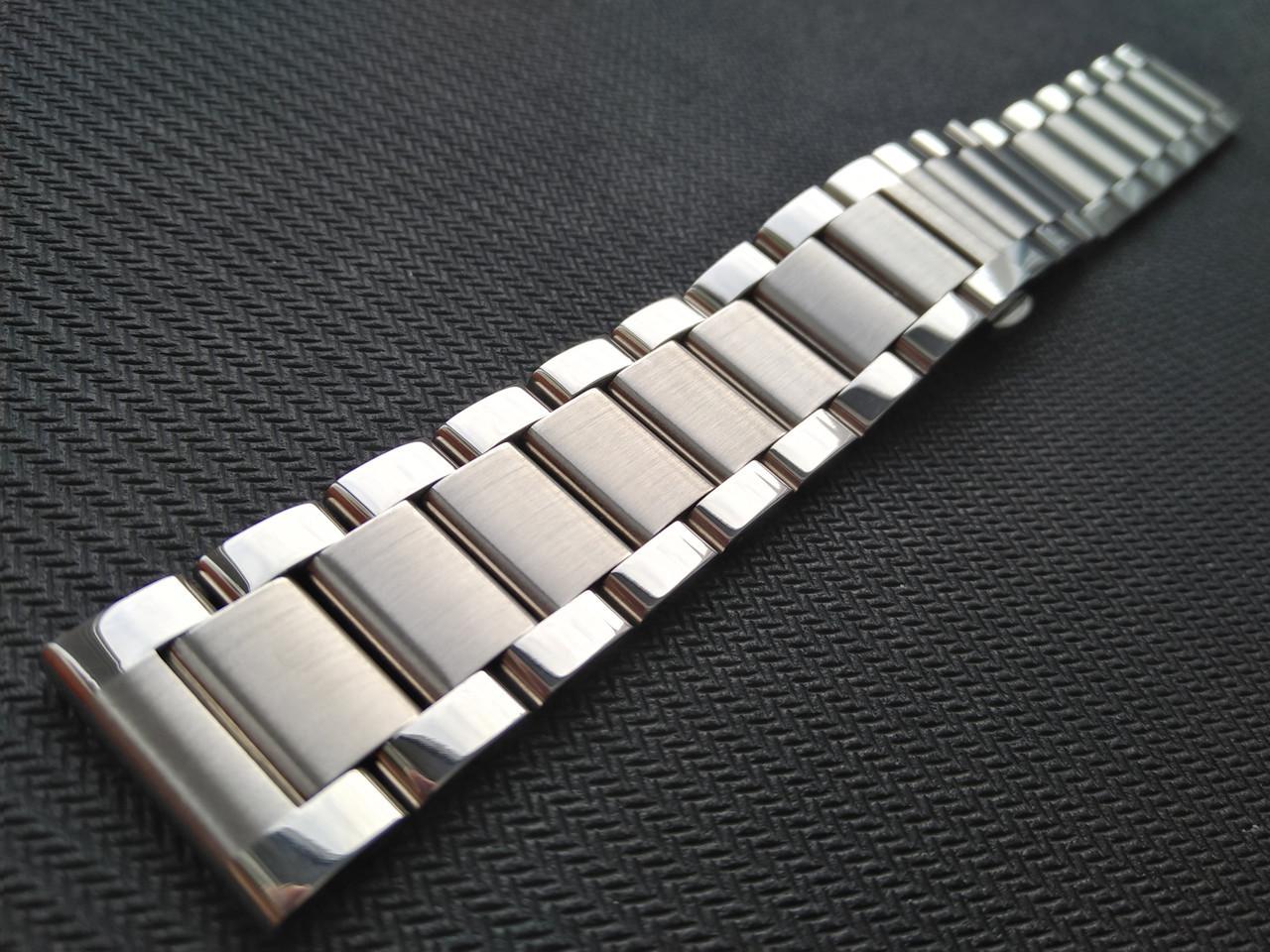 Браслет для часов из нержавеющей стали 316L, литой, мат/глянец. 20 мм