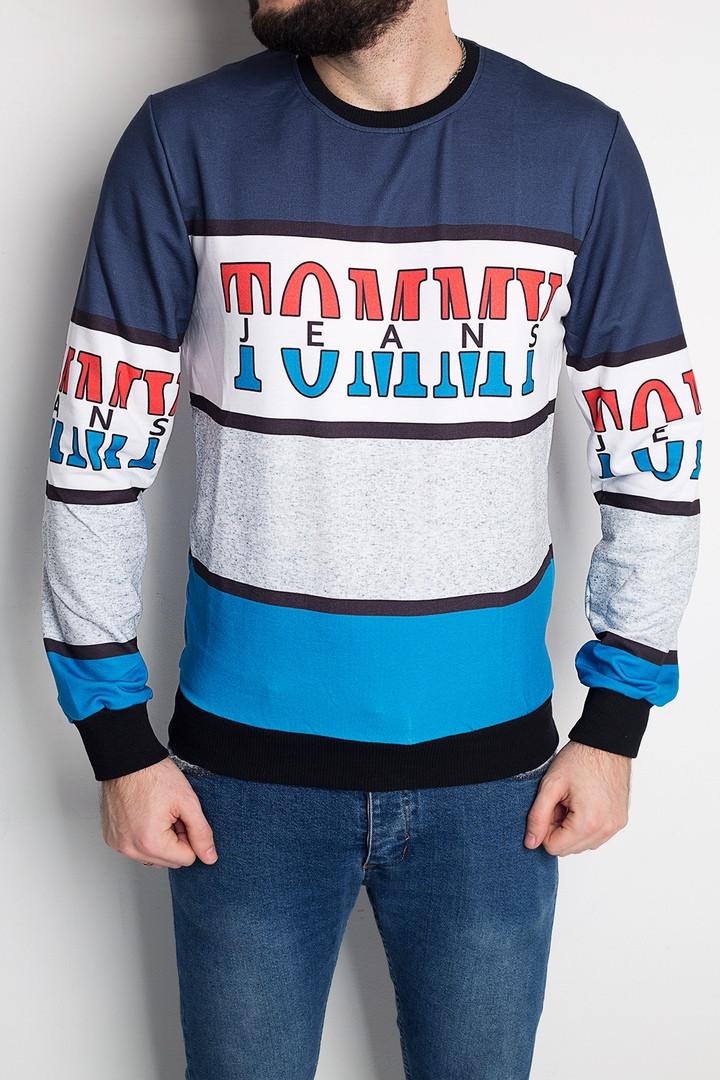 """Мужской СВИТШОТ Tommy Jeans  """"Blue/White"""" ( в стиле Томми )"""