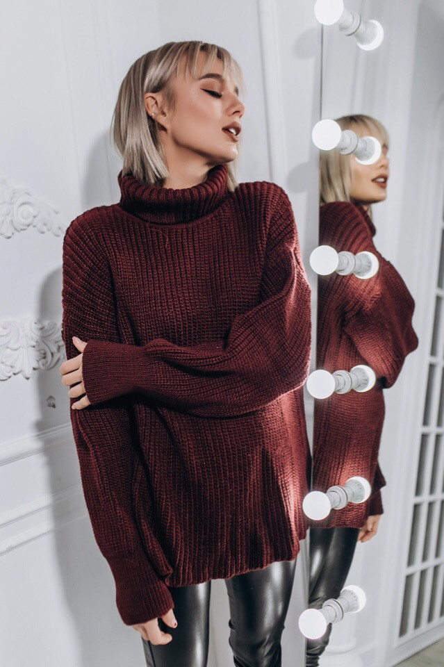 вязаный свитер городок бордовый 4 цвета цена 66284 грн