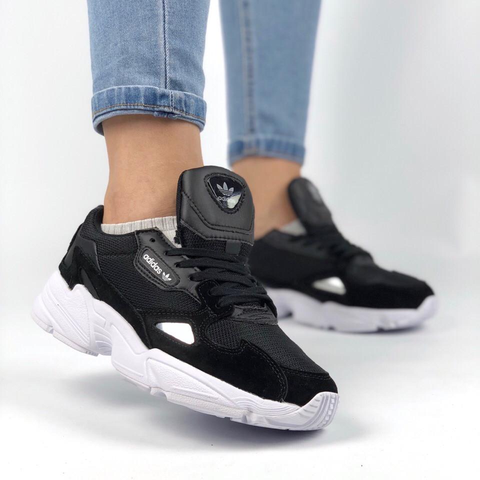 Женские кроссовки Adidas Falcon Core Black черные (Реплика ААА+ класса) -  Интернет- edd5a6603ae