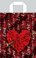 Полиэтиленовый пакет с петлевой ручкой ''Сердце'' 230*290, 10 шт